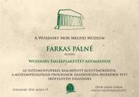 Wosinsky Emlekplakett 2014