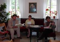 A Babits-ház szalonjában Samu Attila, Németh Judit, Tzafetás Roland (2004.04.30.)