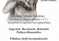 Meghívó Pálinkás Judit kerámiakészítő Angyalok, bacchusok, bolondok c. kiállítására